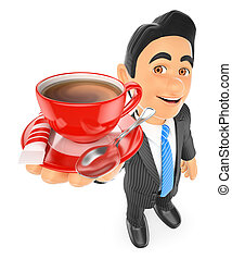 3D Businessman drinking a cup of coffee with milk