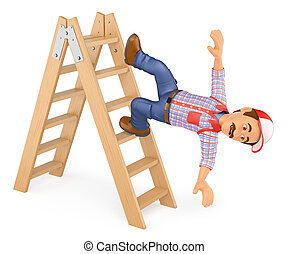 3D Worker falling off a ladder. Occupational accident - 3d...