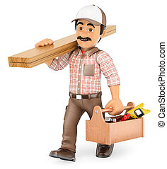 3D Carpenter walking with wooden board and toolbox - 3d...
