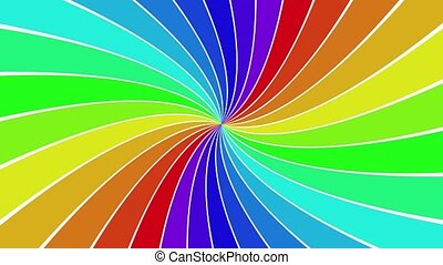Rotating rainbow spiral ray burst background