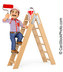 3D Painter working up a ladder with a roller brush - 3d...