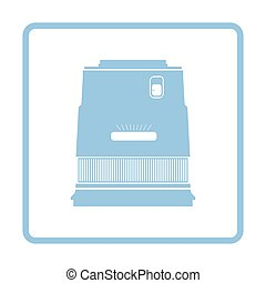 Icon of photo camera wide lens. Blue frame design. Vector...