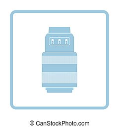 Icon of photo camera zoom lens. Blue frame design. Vector...