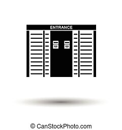 Stadium entrance turnstile icon. White background with...