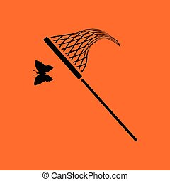 Butterfly net icon. Orange background with black. Vector...