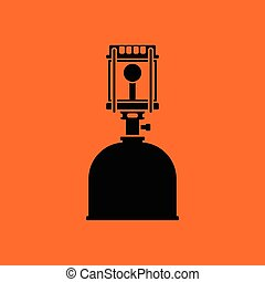 Camping gas burner lamp icon. Orange background with black....