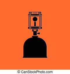 Camping gas burner lamp icon