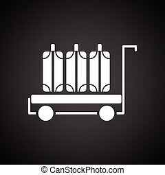 Luggage cart icon. Black background with white. Vector...