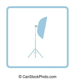 Icon of softbox light. Blue frame design. Vector...