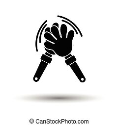 Football fans clap hand toy icon. White background with...