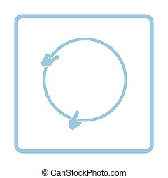 Icon of hand holding photography reflector. Blue frame...