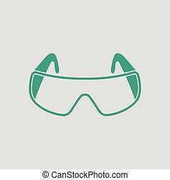Icon of chemistry protective eyewear. Gray background with...