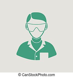 Icon of chemist in eyewear. Gray background with green....