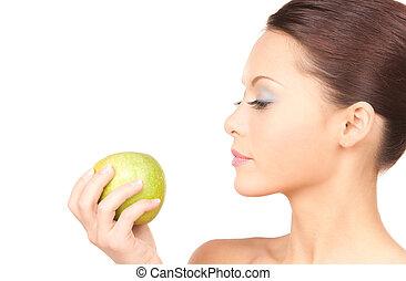 jovem, bonito, mulher, verde, maçã