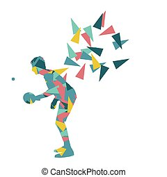 Table tennis player ping pong abstract vector background...