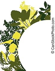 Wild plants detailed silhouettes background vector banner