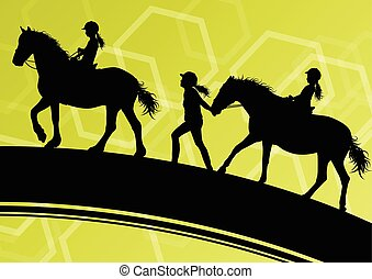 Horses with young children riders healthy active sport vector background