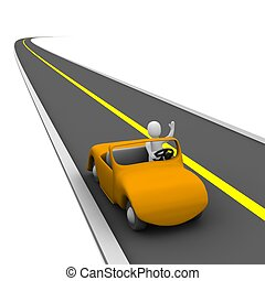 Man in cabriolet car and empty road. 3d rendered illustration.
