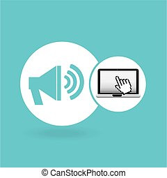 laptop speaker and cursor hand design vector illustration...