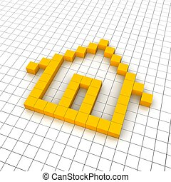 Home 3d icon in grid Rendered illustration