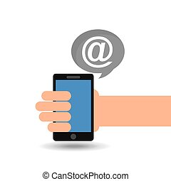 concept social media, hand holding smartphone mail vector...