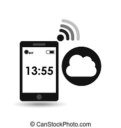 cellphone internet cloud network media icon vector...
