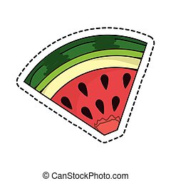 fresh fruit cut line isolated icon vector illustration...