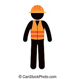 builder constructor character icon vector illustration...