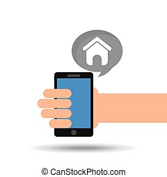 concept social media, hand holding smartphone web page...