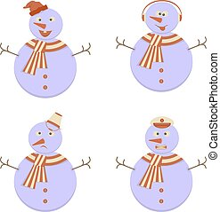 Set of Snowmans with Emotional expression faces icons in...