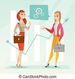 Business women analyzing financial data. - Business women...