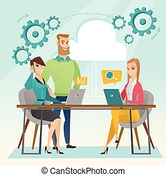 Business meeting in office vector illustration. -...