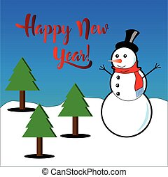 Happy New Year subtitles with snowman and pine trees