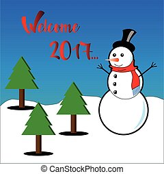 Welcome 2017 subtitles with snowman and pine trees
