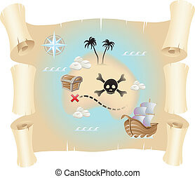 Treasure Map - Grunge pirate map isolated on a white...