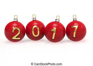 Red Christmas balls with gold numbers 2017 on a white background