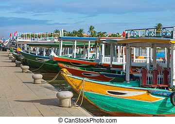 Hoi An baot - Wooden boats on the Thu Bon River in Hoi An...