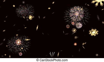 New Year 2017 from snowflakes on a fireworks background.