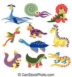 Prehistoric cute dinosaurus vector illustration isolated on...