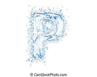 Water splash letter P