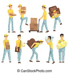 Delivery And Moving Company Employees Carrying Heavy Objects, Delivering Shipments And Helping With Removal Set Of Illustrations