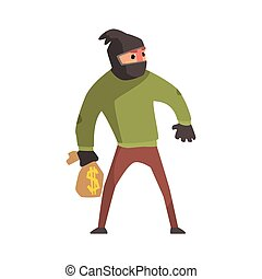 Criminal With The Sock On Head Holding Money Bag Committing...