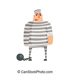 Criminal InStripy Prison Uniform Standing In Irons Caught...