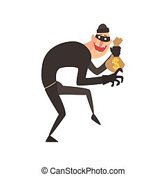 Criminal Wearing Mask Holding Money Bag Tiptoeing Committing...