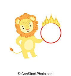 Circus Trained Lion Animal Artist Performing Stunt With The Burning Hula-Hoop For The Circus Show