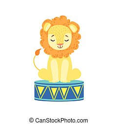 Circus Trained Lion Animal Artist Waiting For The...