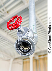 Safety water control system with coupler, red valve for fire...