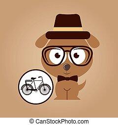 hipster dog symbol bicycle design vintage background
