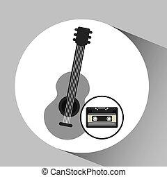 cassette vintage guitar style hipster vector illustration...