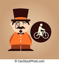 man hipster ridding bike icon design vector illustration eps...